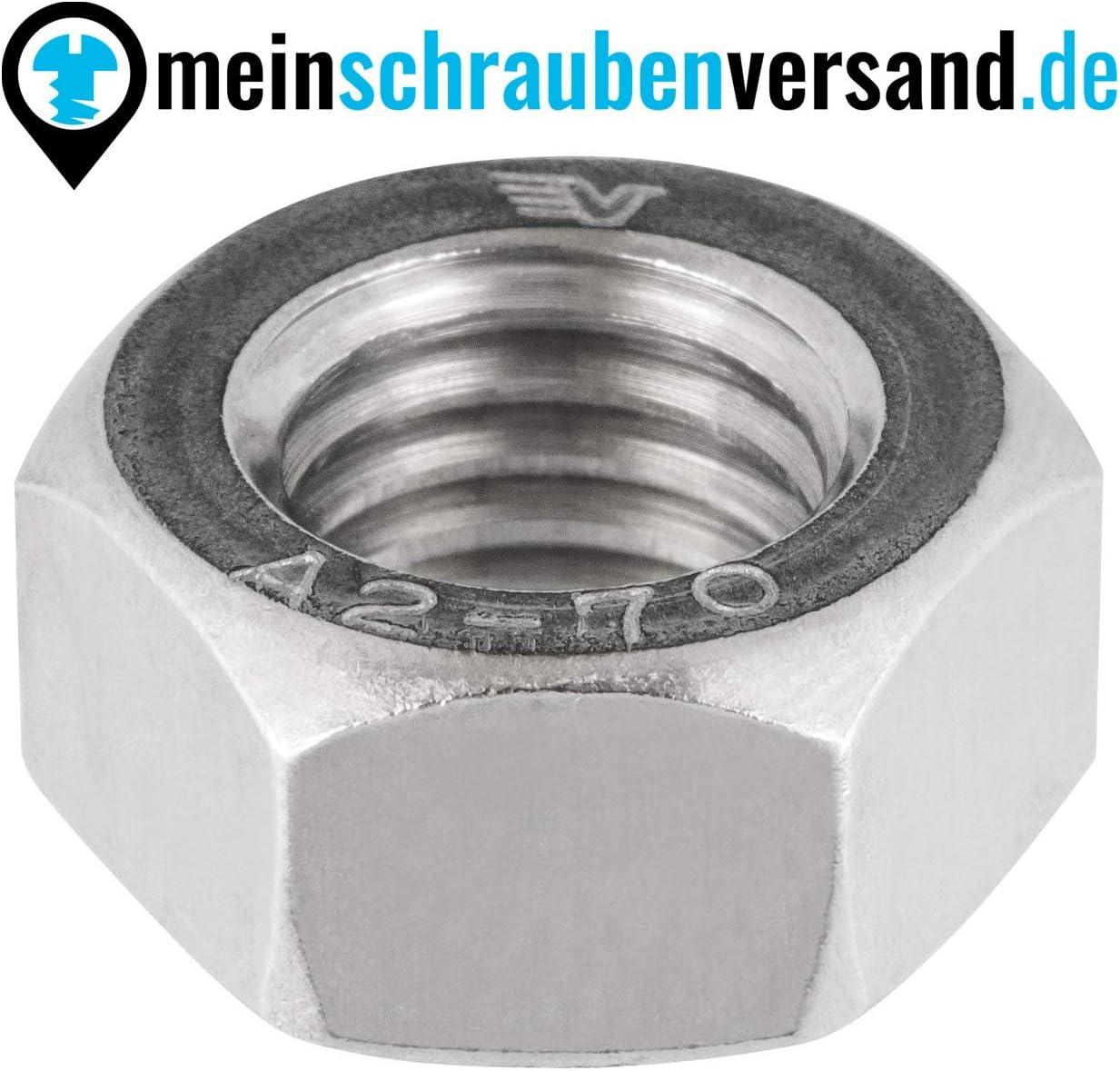 V2A versi/ón est/ándar DIN 934 ISO 4032 Tuercas hexagonales M8 10 unidades M8 tuercas de acero inoxidable A2