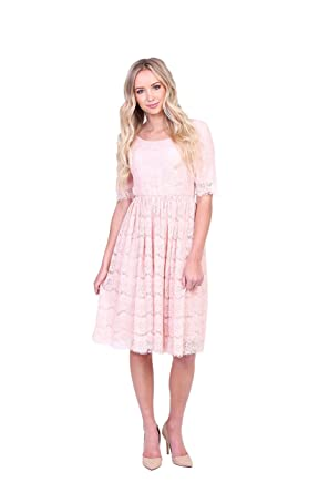 c4ee2271395ad Mikarose Women's Evelyn Modest Half-Sleeve A-Line Lace Dress at Amazon  Women's Clothing store: