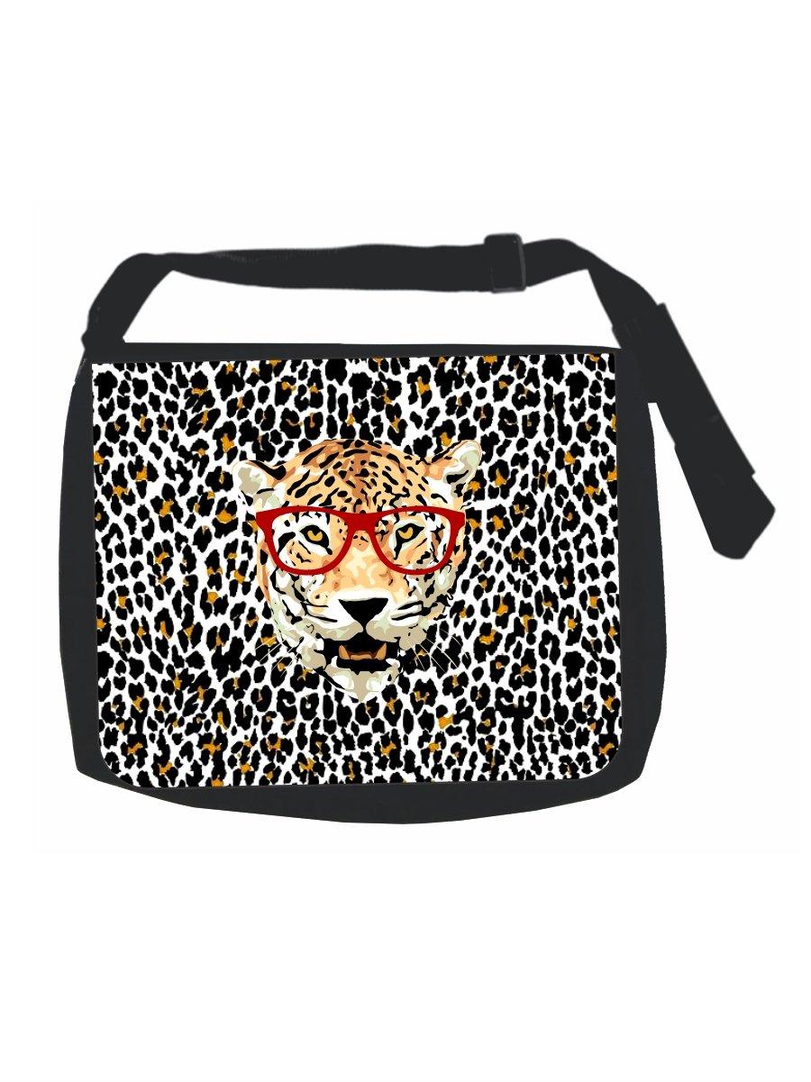 Hipser Leopard in Red Glasses on Leopard Print - Black Laptop Shoulder Messenger Bag - Girls - Multi-Purpose