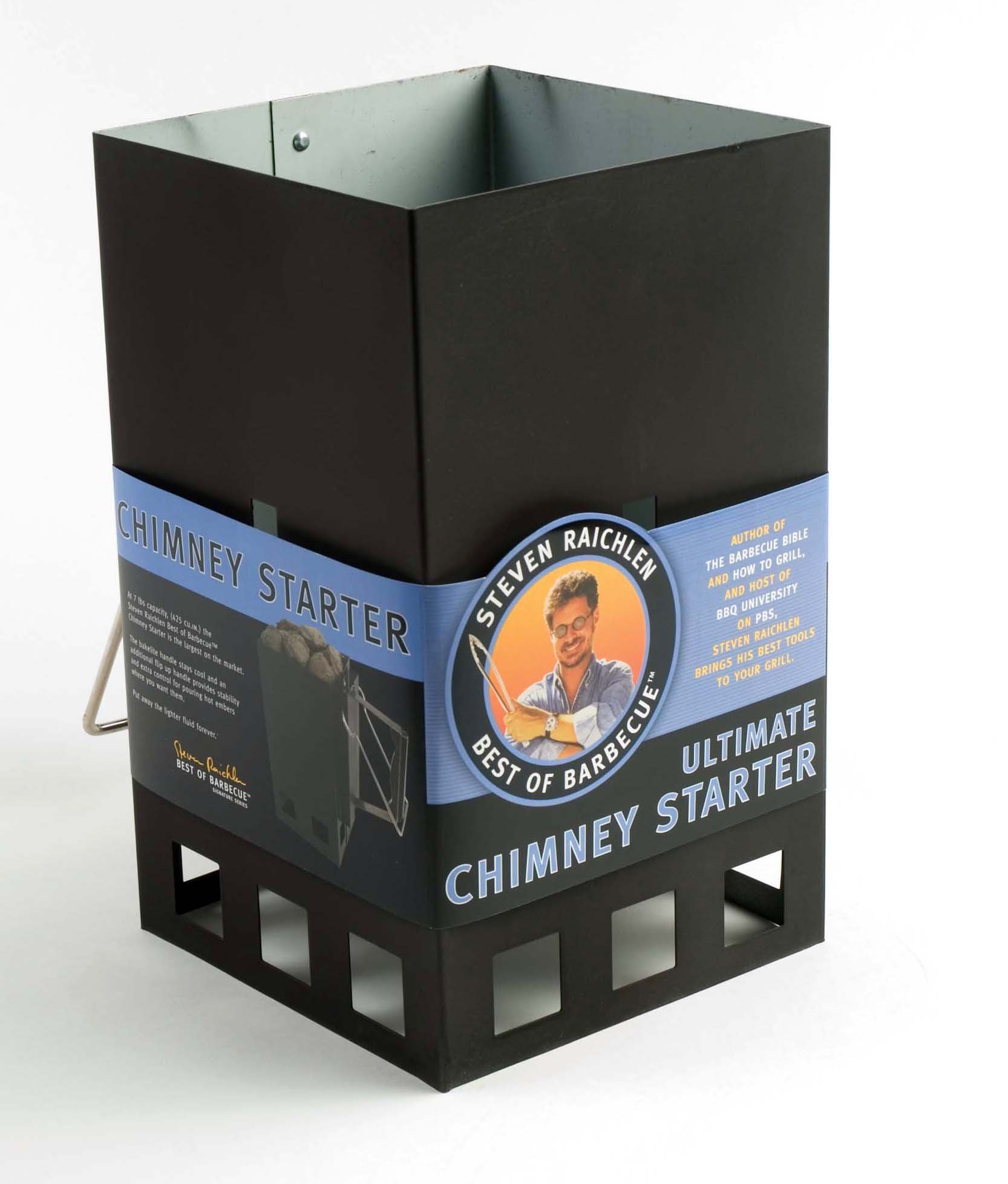 Steven Raichlen Best of Barbecue Ultimate Chimney Charcoal Starter with Handle