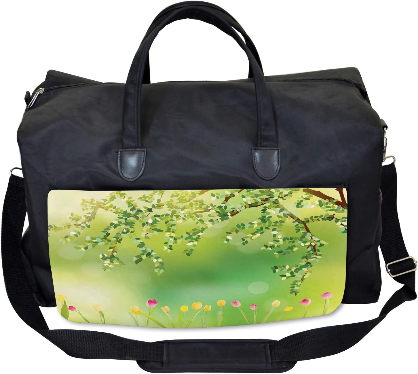 Ambesonne Gym Bag Large Weekender Carry-on Colorful Tulips Tree