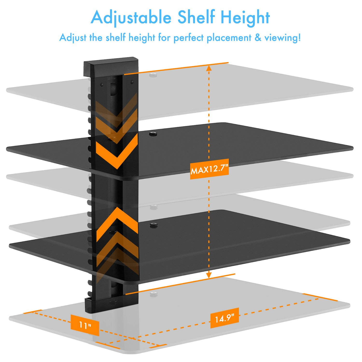PERLESMITH AV Shelf - Double Floating Wall Mounted Shelf - Holds up to 16.5lbs - DVD DVR Component Shelf with Strengthened Tempered Glass - Perfect for PS4, Xbox One, Xbox 360, TV box and Cable Box