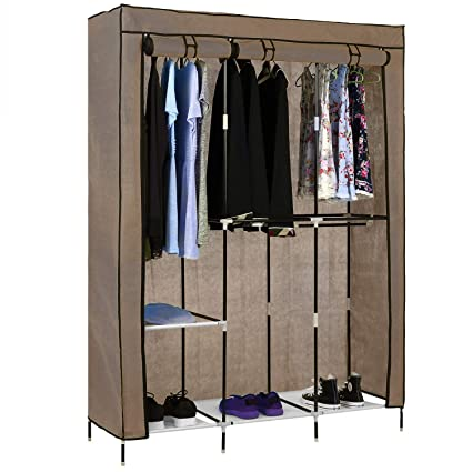 Bon Miageek Portable Wardrobe Clothes Storage Organizer With Hanging Rack  Non Woven Thickening Dust Closet[