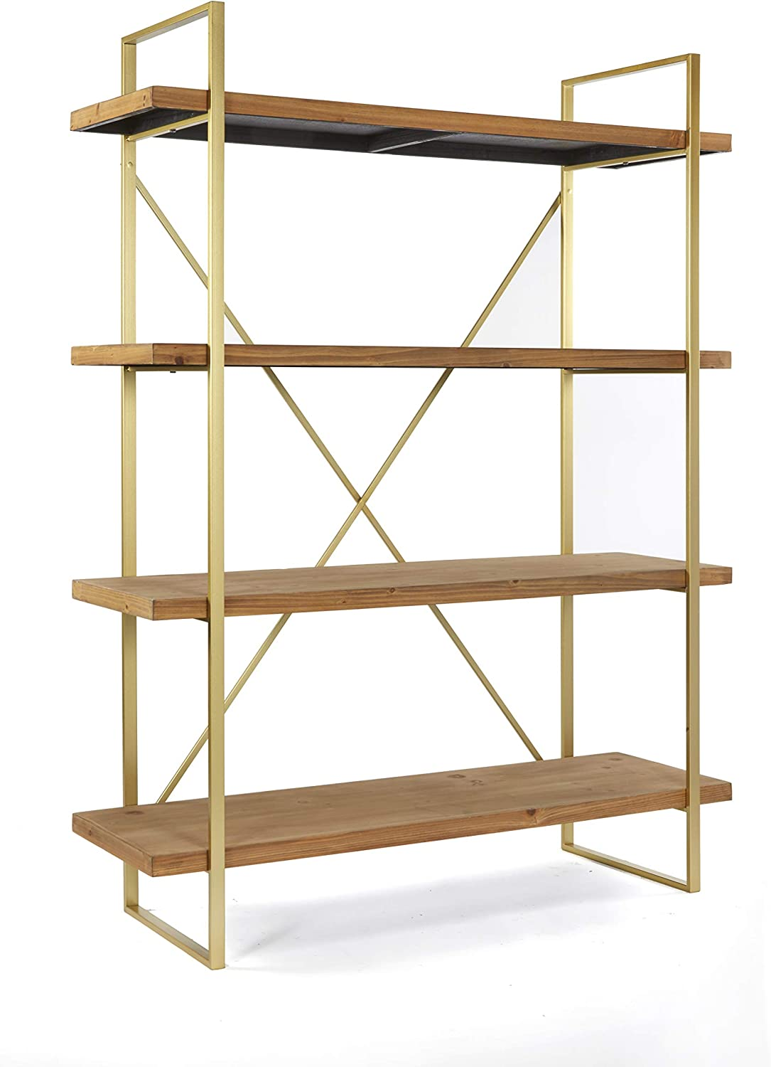 Amazon Com Statements By J 6b2083 47l Emma Etagere Wooden Bookshelf With 4 Shelves 47 Inch Wide Brown And Gold Home Kitchen