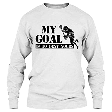 a5590ae4 EZARO Lacrosse T Shirt - My Goal is to Deny Yours Cool T Shirts Design Long