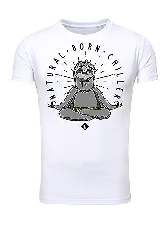 06c704a59f464f Legendary Items T-Shirt Herren Printshirt Bedruckt Aufdruck Druck Männer  Motiv Rundhals Natural Born Chiller Faultier weiß L  Amazon.de  Bekleidung