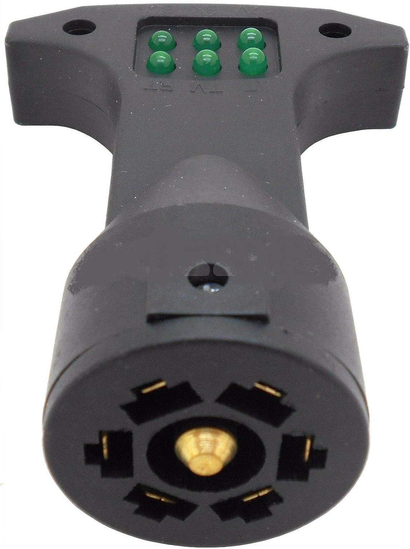 7 Way Trailer Socket Circuit Light Tester RV Flat Round Blade Brake Turn Signal
