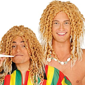 Amakando Peluca Rubia con Dreads para Hombre / Rubio / Peluca Hippie Jamaica con rizos Rasta