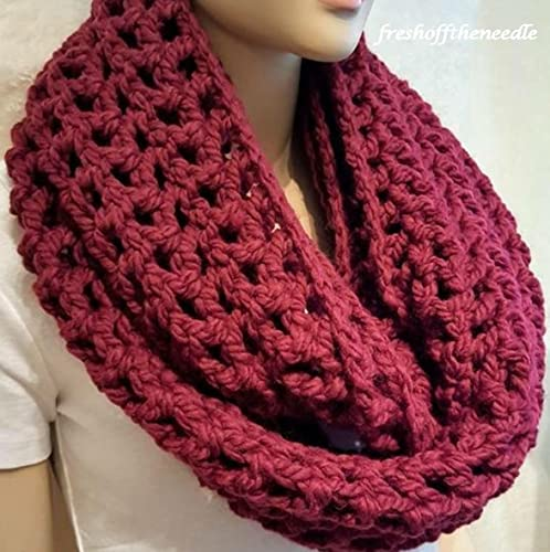 Amazon Burgundy Crochet Infinity Scarfchunky Infinity Scarf