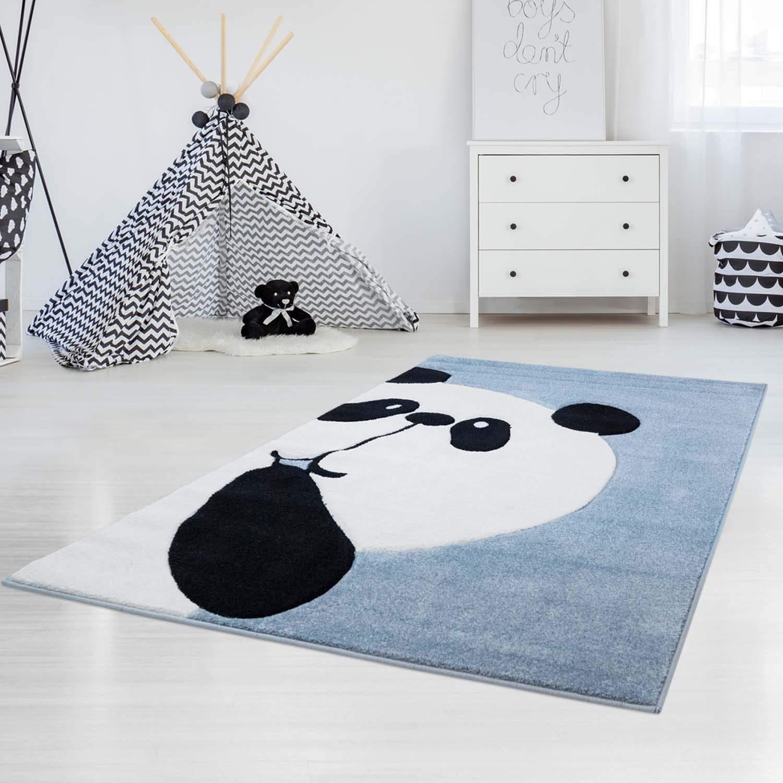 Carpet city Kinderteppich Hochwertig mit Panda-Bär in Pastell-Türkis mit Konturenschnitt, Glanzgarn für Kinderzimmer Größe 120 170 cm
