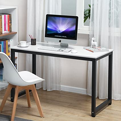 Elegant Coleshome Writing Computer Desk Modern Simple Study Desk Industrial Style  Home Office White Notebook Desk