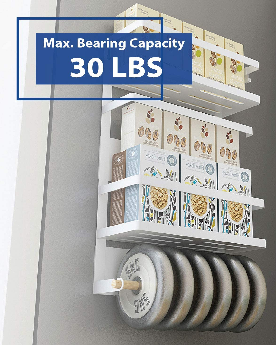 Matte Black Multi Use Kitchen Rack Shelves Winnprime Magnetic Fridge Spice Rack Organizer with 5 Utility Hooks 4 Tier Magnetic Paper Towel Holder
