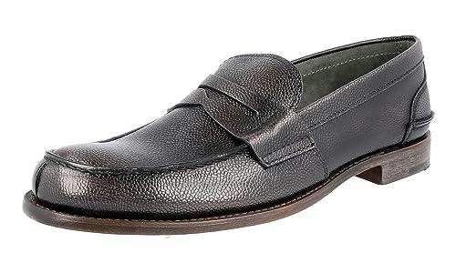 Prada - Mocasines de Piel para Hombre Gris Fumo: Amazon.es: Zapatos y complementos