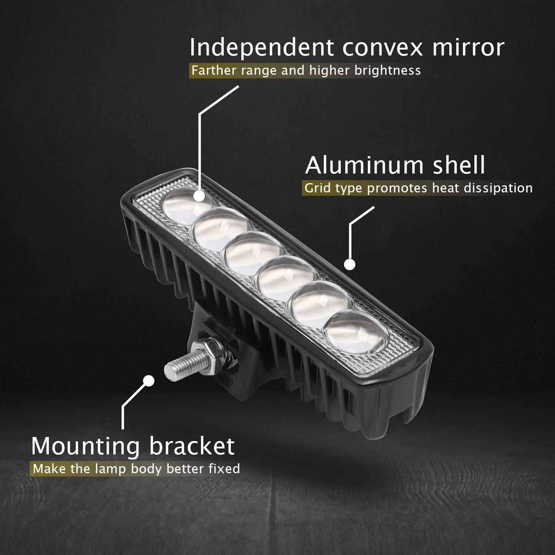 16 pulgadas Luces de conducci/ón Barra de luces de trabajo en el autom/óvil Barra de luz de trabajo para trabajo fuera de carretera a prueba de agua 18W 10-30V Barra de luz LED Paquete de 1 luz blanca