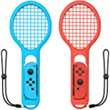Tennis Racket for Nintendo Switch Joy-Con Controller,Accessories for Nintendo Switch Game Mario Tennis Aces - Twin Pack (Blue and Red)