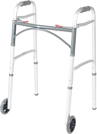 Drive Medical Deluxe Two Button Folding Walker with 5-Inch Wheels