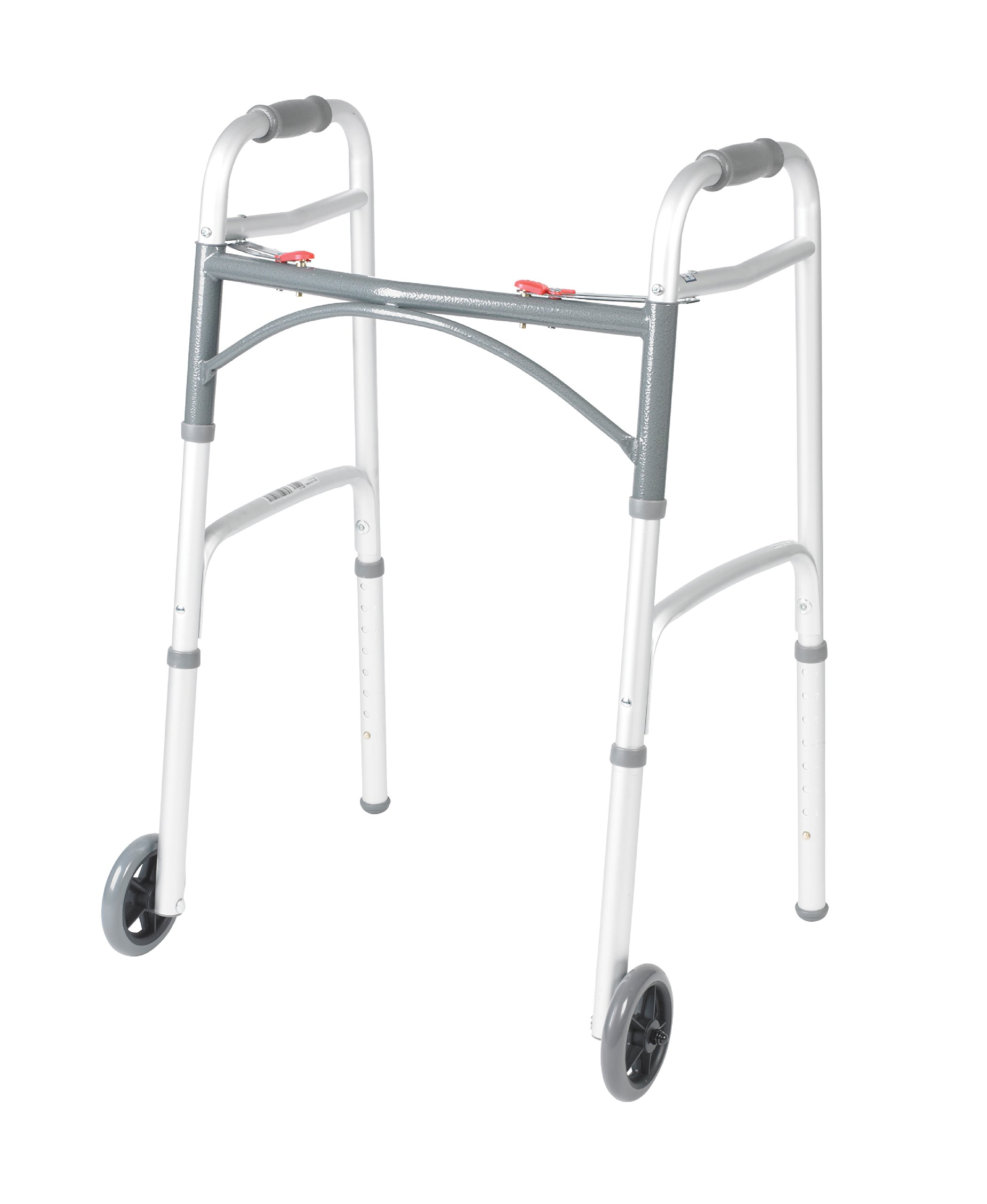 Drive Medical Deluxe Two Button Folding Walker with 5-Inch Wheels by Drive Medical
