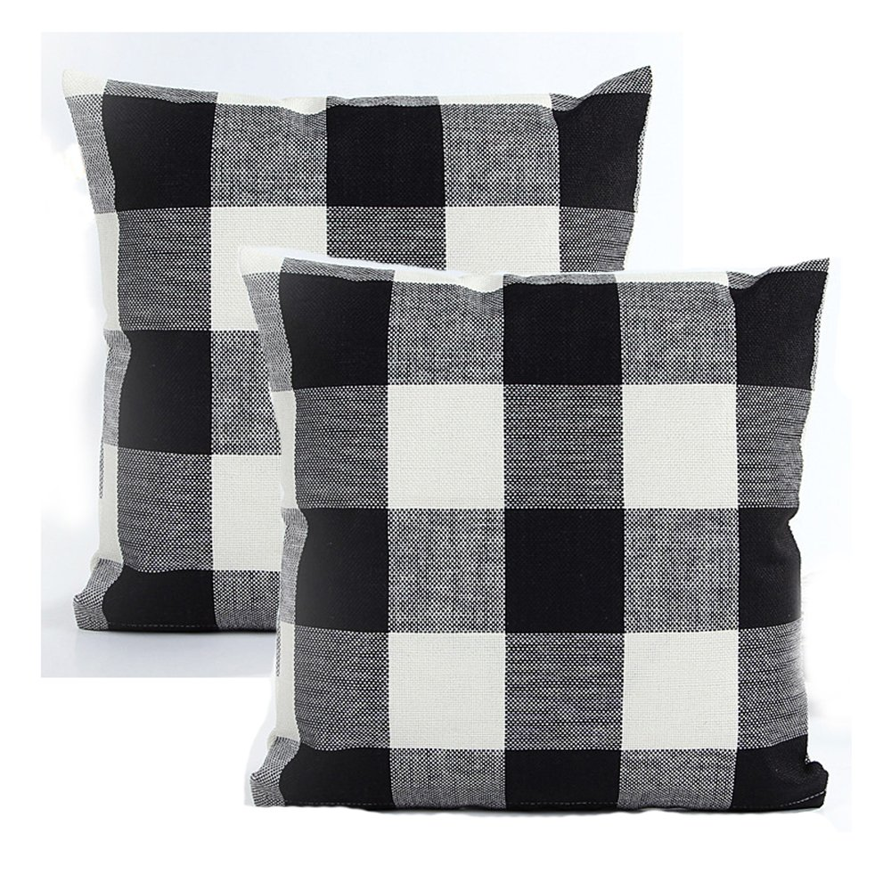 AENEY Black and White Plaid Throw Pillow Covers 18 x 18 Inch Retro Checkers Decorative Pillowcase Linen Square Home Decor Cushion Case for Couch Sofa Chair Bed Set of 2