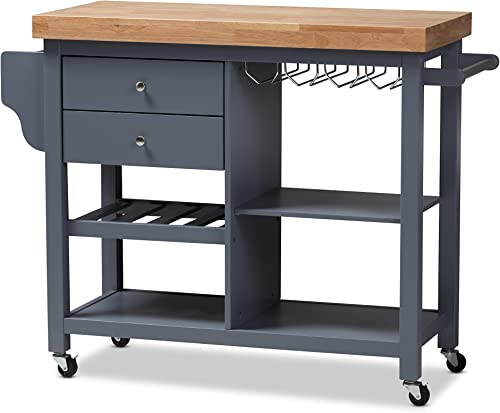 Baxton Studio Sunderland Coastal And Farmhouse Grey Wood Kitchen Cart