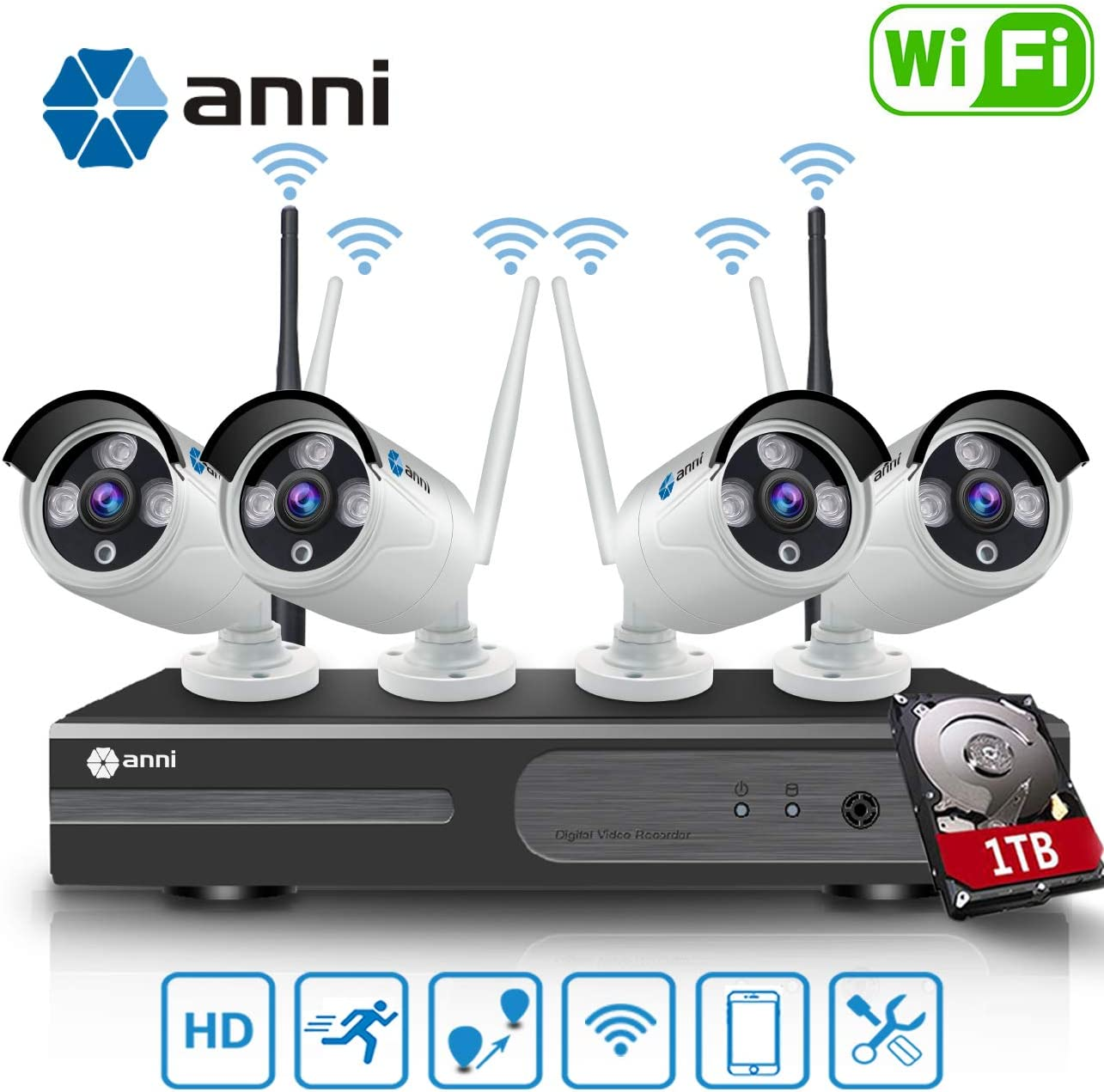 Anni 1080P 4CH HD WiFi NVR Kit Wireless Security Camera CCTV Surveillance Systems, 4 2.0MP Megapixel Weatherproof Wireless Bullet IP Cameras,65ft Night Vision,P2P,WiFi Camera System,with 1TB HDD