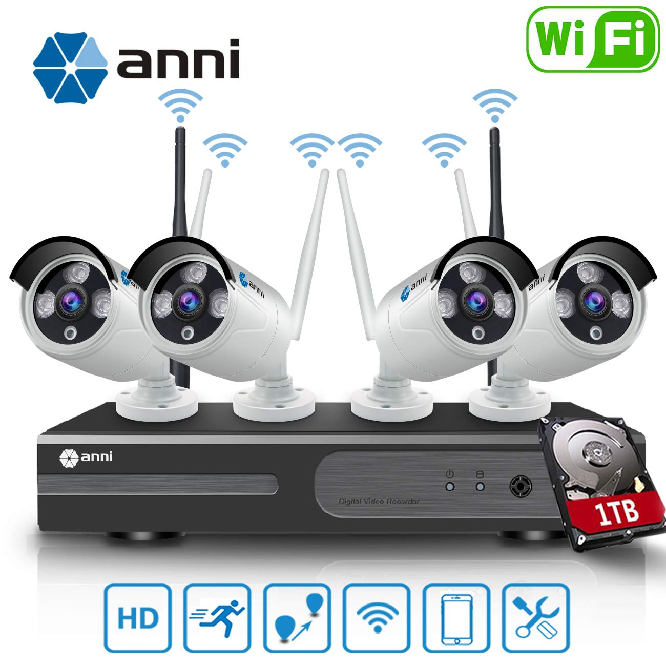 Update Strong Signal Version, Wireless Security Camera System, SANNCE 1080P 8CH NVR and 4 pcs 2MP IP66 Weatherproof Surveillance Cameras,Indoor Outdoor with 100FT Night Vision,1TB Hard Drive Included