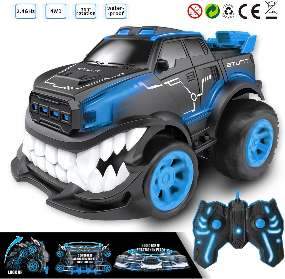 LEEUOR Remote Control Car,RC Stunt Inverted and 360° Rotation Shark Angry Style for Boys & Kids,2.4Ghz with Flashing Lights (Blue)