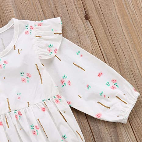 19e15f8c913 Amazon.com  sweetyhouse Newborn Baby Girls Long Sleeve Floral Bodysuit  Infant Ruffle Fly Sleeve Romper Jumpsuit One Pieces Outfit  Clothing