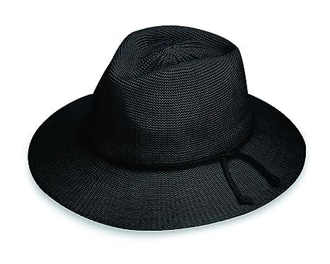 6ab00bf8b50 Wallaroo Hat Company Women s Victoria Fedora Sun Hat - Black - UPF ...