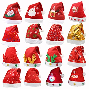 b7e0a16880b68 AIliren 6 Pack In Random Christmas Hat For Childrens And Adults Family Party  Hats Red Santa