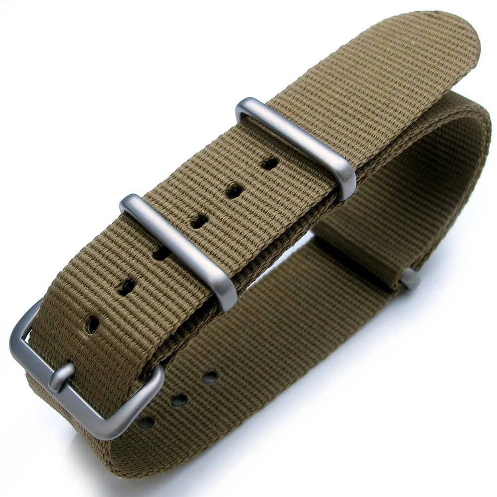 Nato 22mm Heat Sealed G10 Nylon Brushed Buckle - Military Green