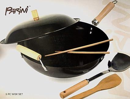 Amazon.com: Parini 5-Piece Asian Wok Pan Set: Kitchen & Dining
