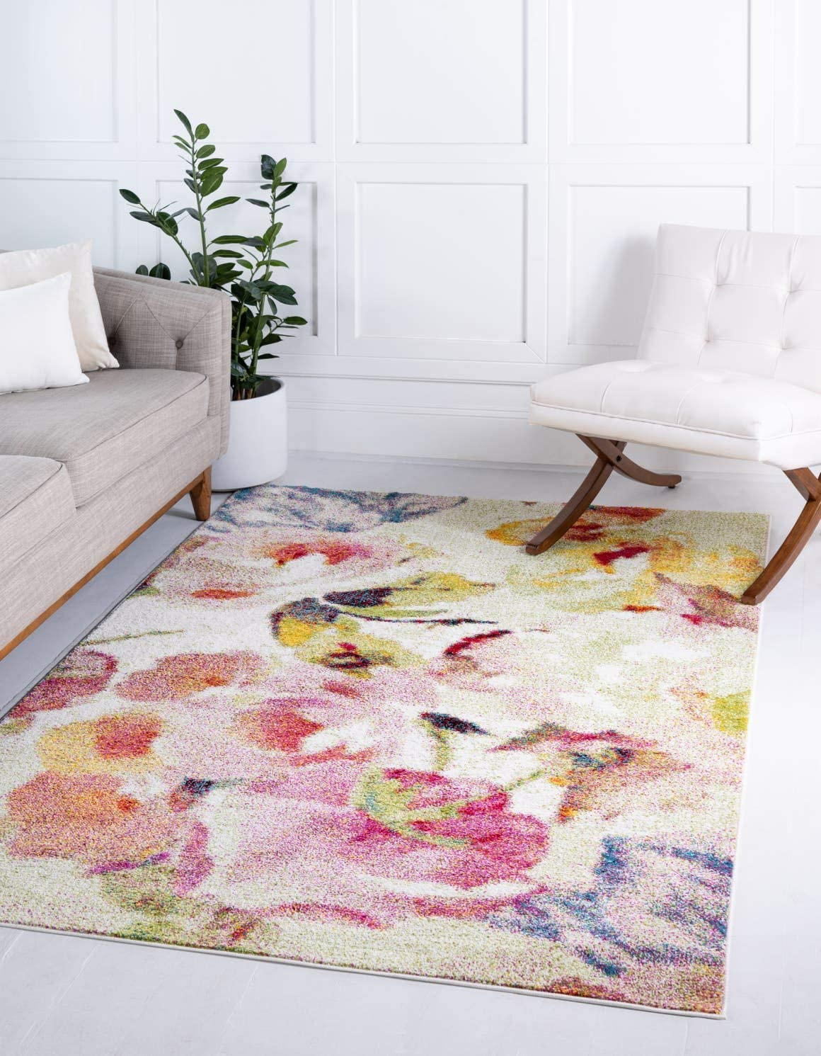 Unique Loom Lyon Collection Modern Floral Ivory Area Rug 5 0 x 8 0