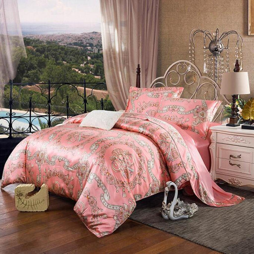 L&M Silk pieces of four sets 100% Pure silk Silk quilt Bed sheets 200230?cm? 220240 (cm) , pink , 220240cm