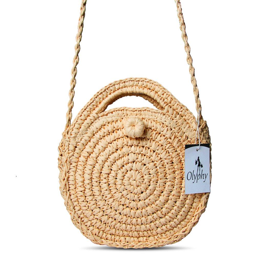 Olyphy Round Straw Shoulder Bag for Women, Weave Crossbody Bag Top Handle Handbag Summer Beach Purse (FlowerBrown)