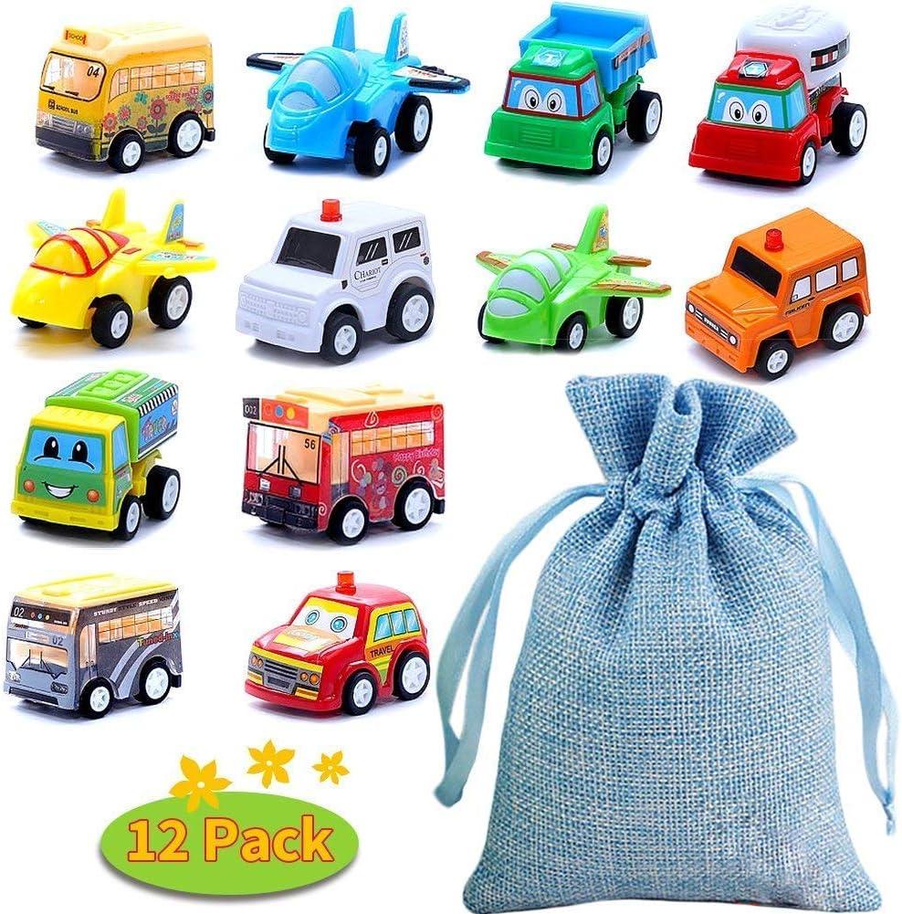 BBLIKE Coches de Juguetes, 12 PCS Mini Coches Cars Una Bolsa con Cordón Friction Juguetes de Vehículos para Regalo de Niño y Niña