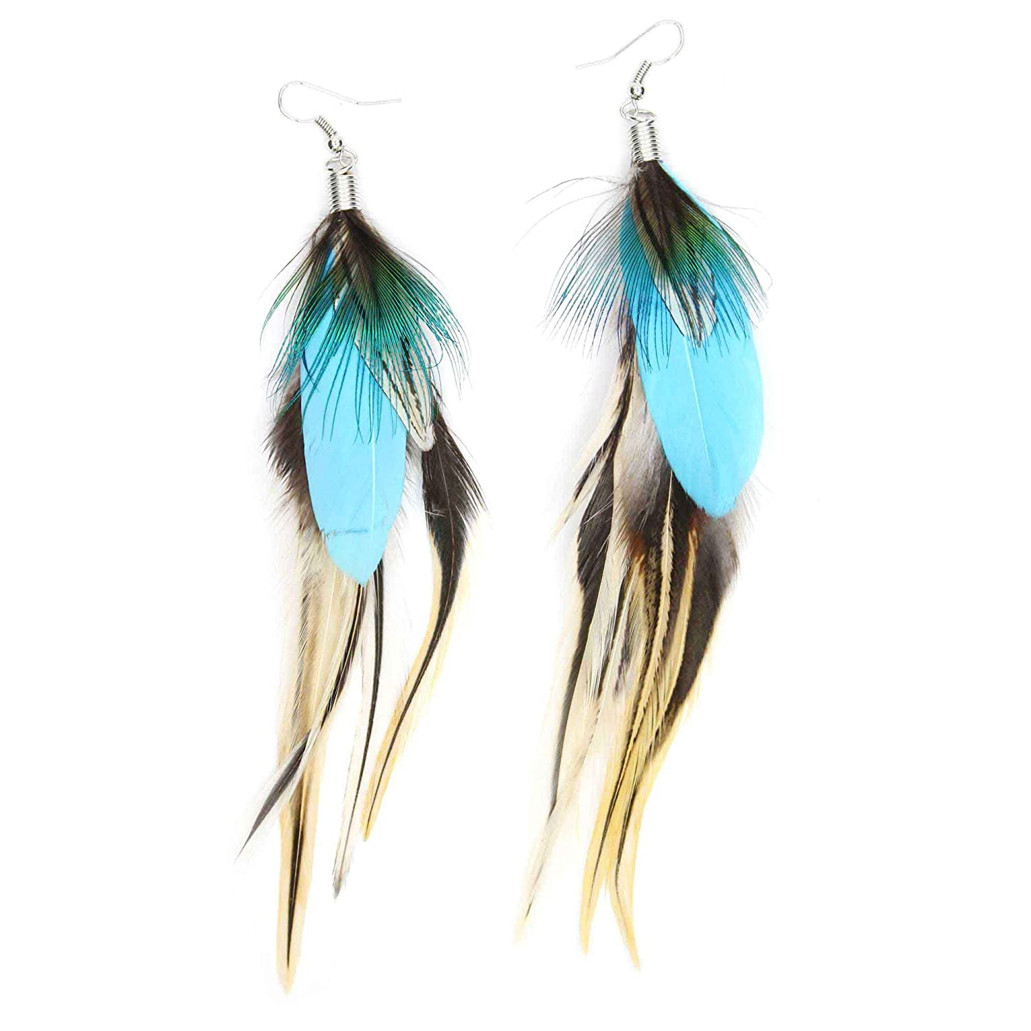 lauren feather milmine designs painted products feathered blue earrings