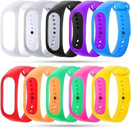 Zacro 10 Pcs Pulseras de Repuesto para Mi Band 4,Mi Band 3 Reemplazo de Silicona Suave Correa de Recambio Impermeable Unisex,MultiColores: Amazon.es: Deportes y aire libre