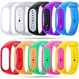 Zacro Band per Xiaomi Mi Band 3 Braccialetto di Ricambio Polso Cinturino di Ricambio per Smartwatch Xiaomi Mi Band 3 Intelligente Miband Bracciale Set di 10(Activity Tracker Non Incluso)
