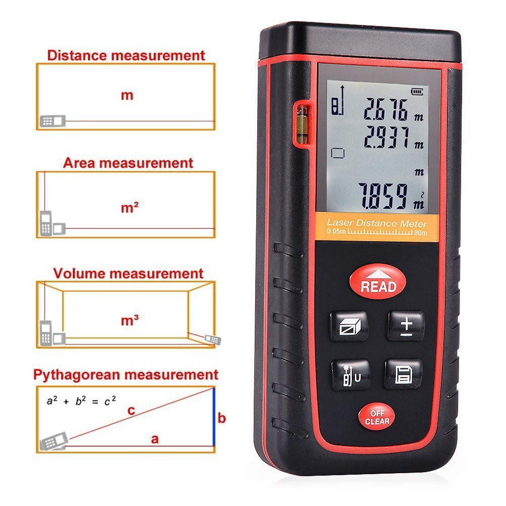TopOne Digital Laser Measuring Tape Laser Measurement Tool with LCD Backlight Display for Distance and Angle Measurement,Area and Volume Calculation (Accuracy 0.2cm) (S-262Ft) by TopOne (Image #5)
