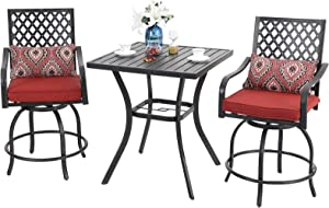 "PHI VILLA Patio Bar Set, 3 pcs Outdoor Metal Bar Set with 2 Swivel Cushioned Stools & 31"" Square Patio Bar Table with Umbrella Hole, Outdoor Furniture Set for Patios Backyard, Porches or Garden"
