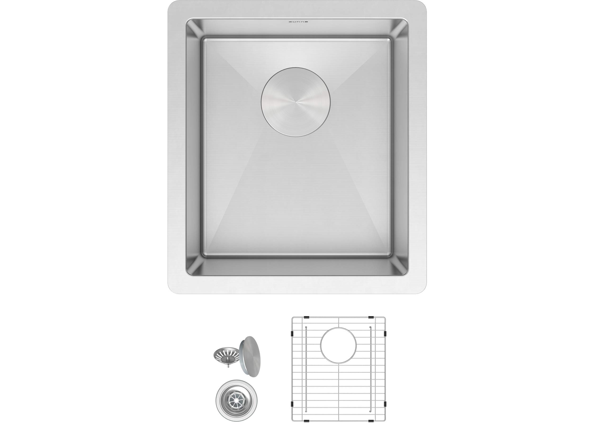 ZUHNE Modena 13 x 15 Inch Wet Bar, Small Prep, RV and Utility Kitchen Sink Undermount Single Bowl 16 Gauge Stainless Steel W. Scratch Protector Grate and Drain Strainer, Fits 15'' Cabinet