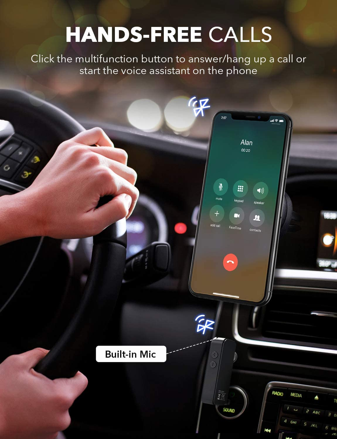 Wireless Bluetooth Car Adapter for 10 Hours Music Streaming for Car//Home Stereo System Bluetooth 5.0 Receiver Auto Reconnection,Voice Assistant Supports Siri and Google Assistant Dual Link