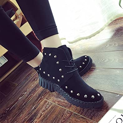 CHAOYANGFall/winter shoes low Martin rivet with flat solid color boots UK  wind strap boots wholesale: Amazon.co.uk: Shoes & Bags