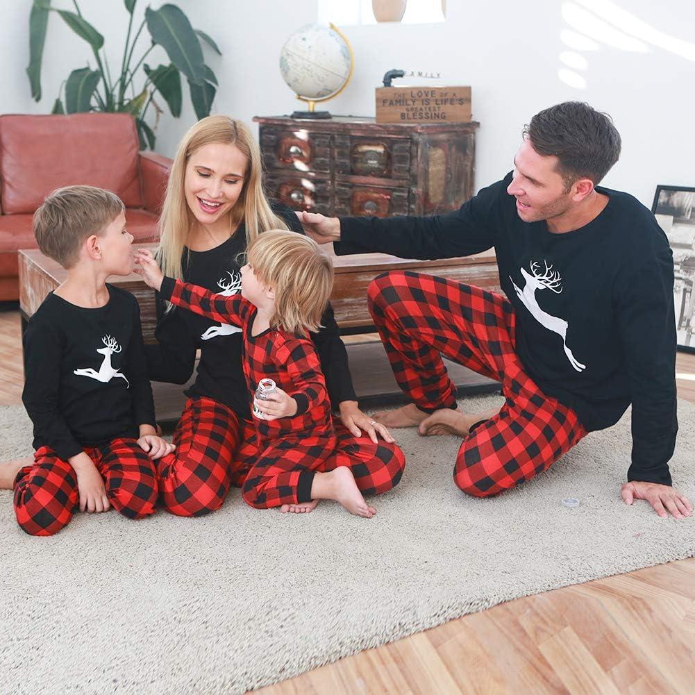 CARETOO Matching Family Pajamas Sets Long Sleeve Christmas Reindeer Plaid Pjs Striped Kids Holiday Sleepwear Homewear