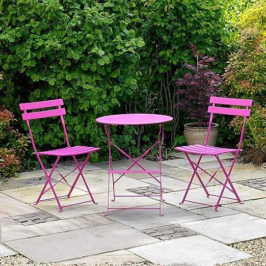 Kingfisher – Juego de Muebles de Metal para Exterior, jardín, Patio, Color Rosa