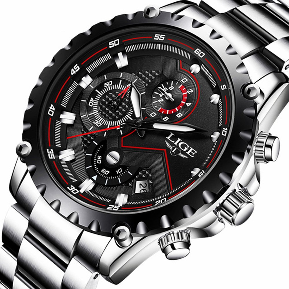 0f8be9ccc18 Amazon.com  Mens Watches Fashion Sports Quartz Watch Stainless Steel Silver  with Gold Strap Top Brand Luxury Simple Style Business Watch Waterproof 30M  ...