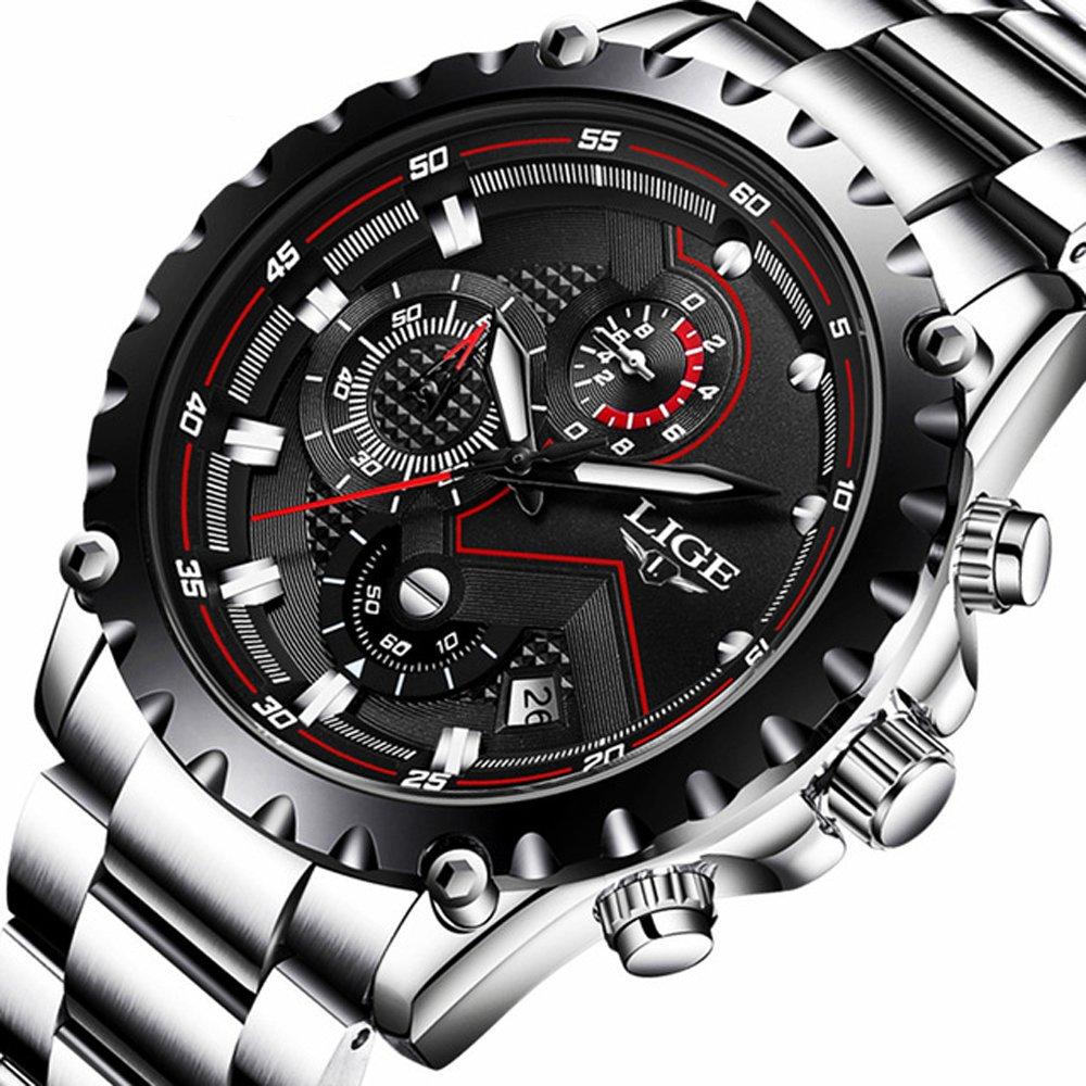 Watch Men Fashion Sport Quartz Clock Mens Watches Top Brand Luxury Full Steel Business Waterproof Watch (black)