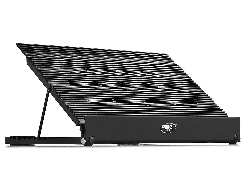 DEEPCOOL N8 Base De Refrigeraci/ón para Port/átil 380X278X55mm Plata 15.6 3 Puertos del USB para De Puro Aluminio con Dos 140mm Ventiladores y Velocidad Ajustable