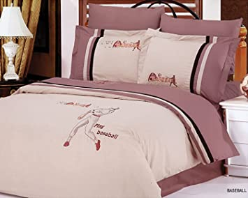 Le Vele 6 Pc Queen Baseball Duvet Cover Bedding Set 221349