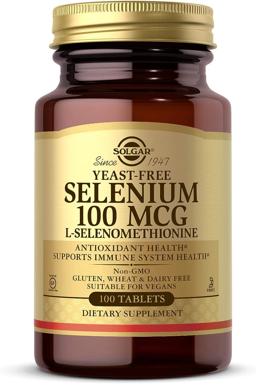 Solgar Yeast-Free Selenium 100 mcg, 100 Tablets - Supports Antioxidant & Immune System Health - Non-GMO, Vegan, Gluten Free, Dairy Free, Kosher - 100 Servings